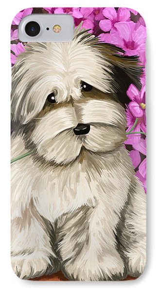 IPhone Case featuring the painting Puppy In The Flowers by Tim Gilliland