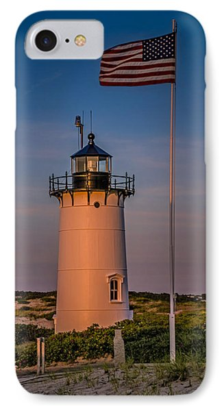 Race Point Lighthouse And Old Glory IPhone Case
