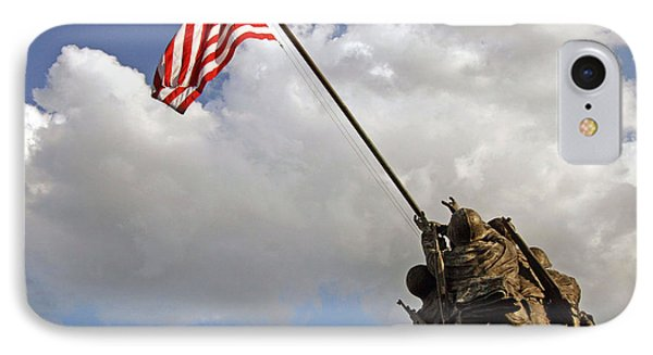 IPhone Case featuring the photograph Raising The American Flag by Cora Wandel