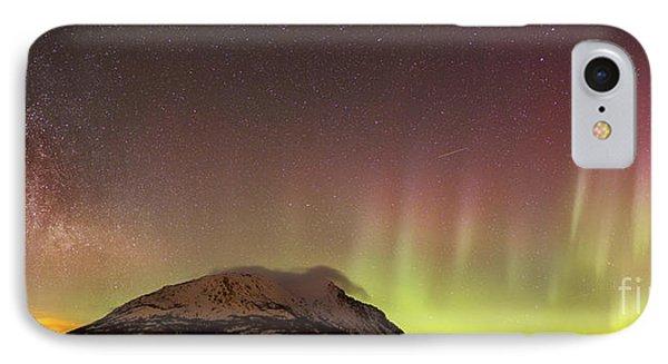 Red Aurora Borealis And Milky Way Phone Case by Joseph Bradley