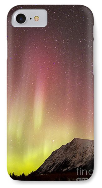 Red Aurora Borealis Over Carcross Phone Case by Joseph Bradley