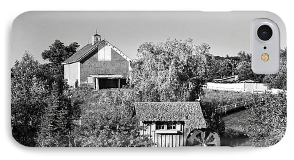 Red Barn And Water Mill On Farm In Maine IPhone Case by Keith Webber Jr
