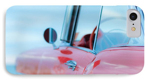 Red Chevy '57 Bel Air At The Beach Square IPhone Case by Edward Fielding