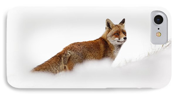 Red Fox In A White World IPhone Case by Roeselien Raimond