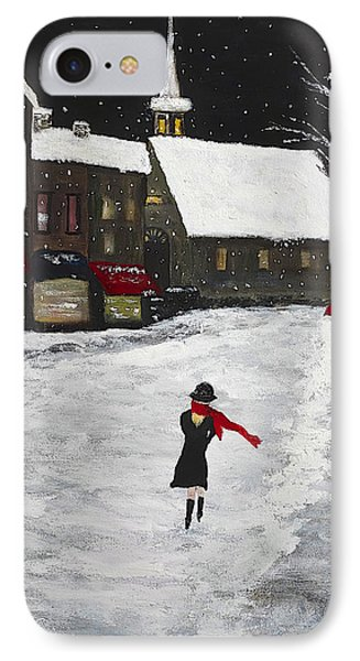 Red Scarf Winter Scene IPhone Case