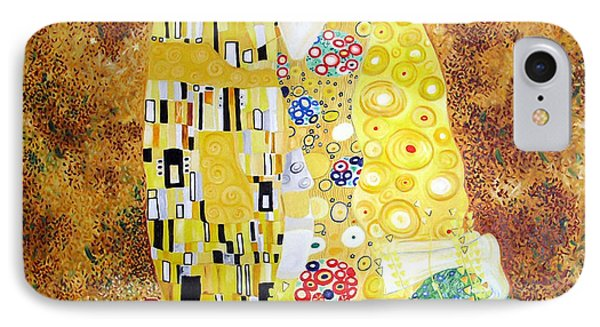 IPhone Case featuring the painting Reproduction Of - The Kiss By Gustav Klimt by Ze  Di