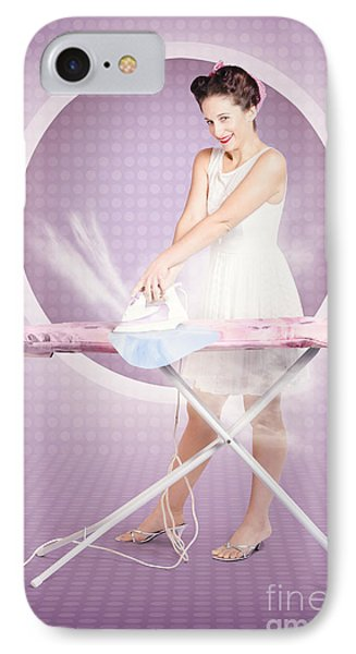 Retro Pin-up Lady Doing Ironing In 50s Fashion IPhone Case