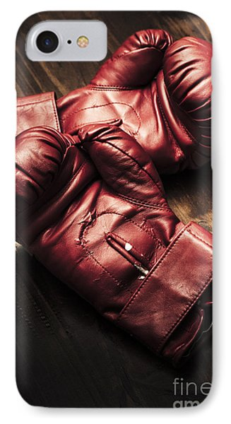 Retro Red Boxing Gloves On Wooden Training Bench IPhone Case by Jorgo Photography - Wall Art Gallery