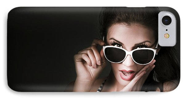 Retro Woman In Early Twenties Expressing Shock IPhone Case by Jorgo Photography - Wall Art Gallery