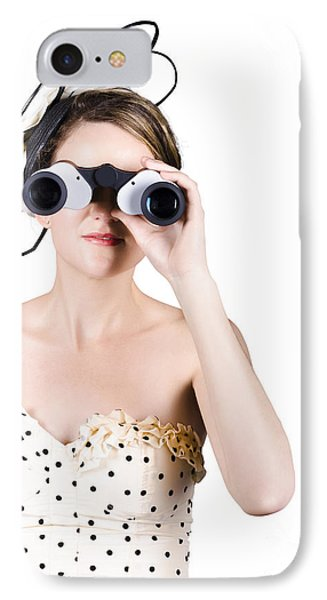 Retro Woman Looking Through Binoculars IPhone Case by Jorgo Photography - Wall Art Gallery