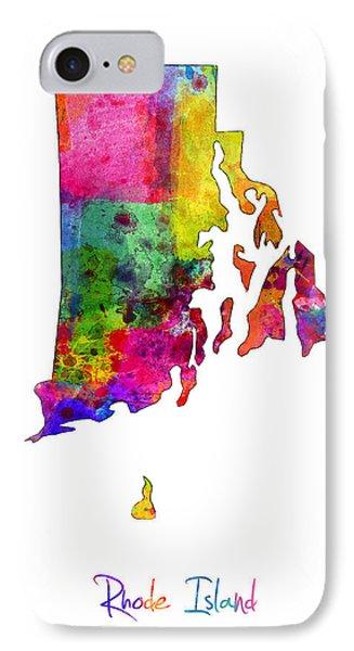 Rhode Island Watercolor Map IPhone Case by Michael Tompsett