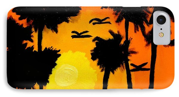 IPhone Case featuring the painting Rising Glow At Sunset by Artists With Autism Inc