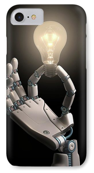 Robotic Hand Holding A Light Bulb IPhone Case by Ktsdesign