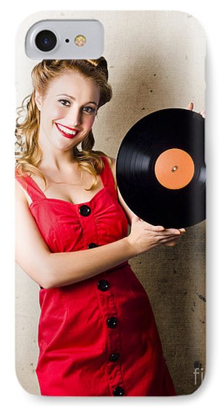 Rockabilly Music Girl Holding Vinyl Record Lp IPhone Case by Jorgo Photography - Wall Art Gallery