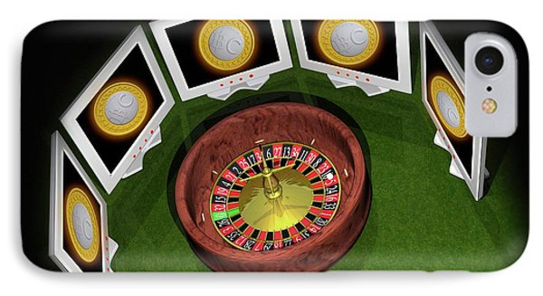 Roulette Wheel And Bitcoins IPhone Case by Victor Habbick Visions