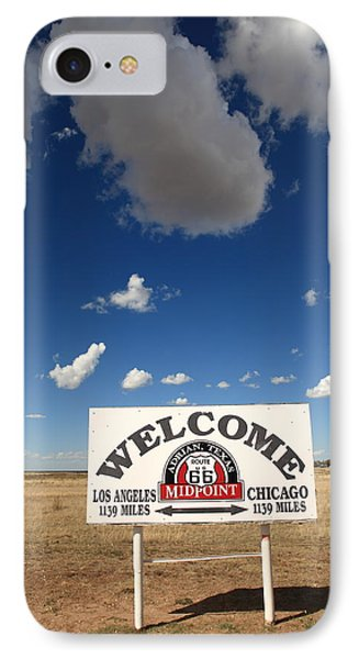 Route 66 - Midpoint Sign Phone Case by Frank Romeo