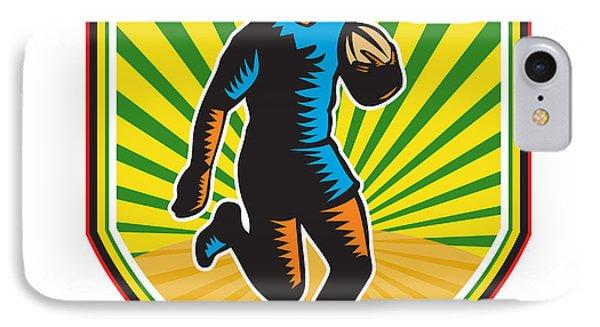 Rugby Player Running Ball Shield Retro Phone Case by Aloysius Patrimonio