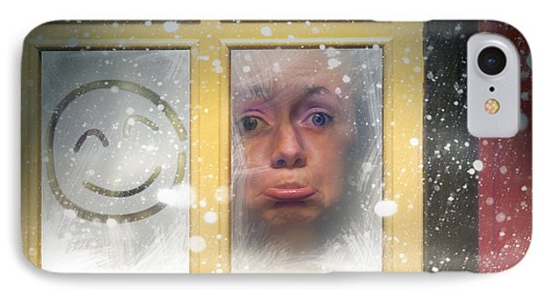 Sad Woman Stuck Indoors During Winter Snowstorm IPhone Case by Jorgo Photography - Wall Art Gallery