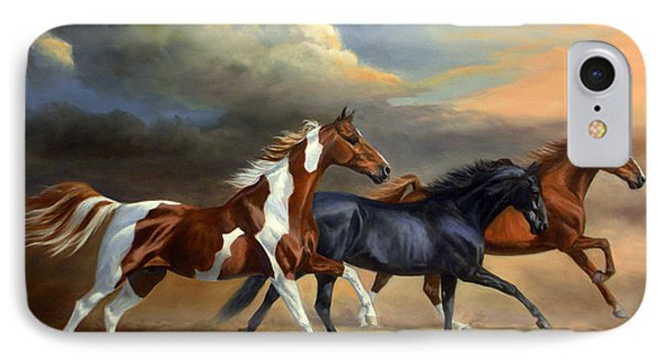 Saddlebreds Three IPhone Case by Jeanne Newton Schoborg