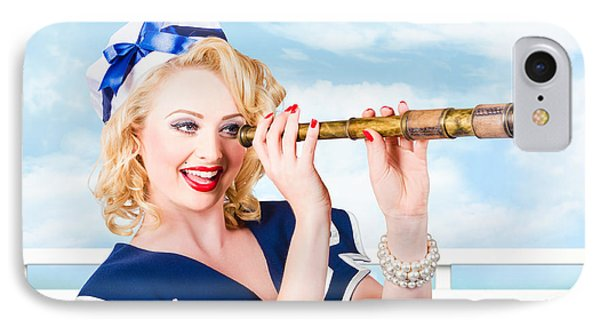 Sailor Girl Pin-up Looking Through Telescope IPhone Case by Jorgo Photography - Wall Art Gallery