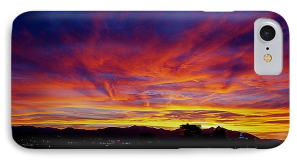 Salt Lake City Sunset IPhone Case by Rona Black