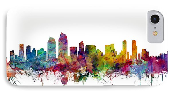 San Diego California Skyline IPhone Case by Michael Tompsett