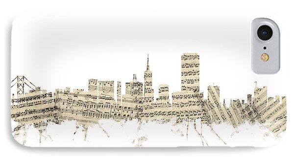 San Francisco Skyline Sheet Music Cityscape IPhone Case by Michael Tompsett