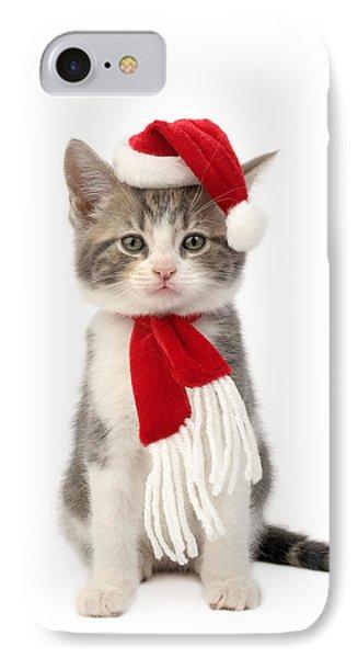 Santa Cat IPhone Case by Greg Cuddiford
