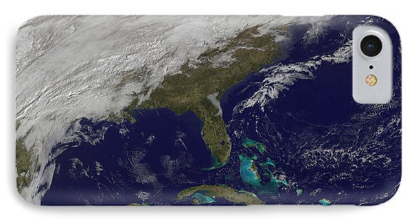 Satellite View Of A Major Winter Storm IPhone Case by Stocktrek Images