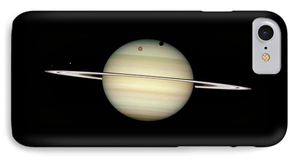 Saturn And Moon Transits IPhone Case by Nasa/esa/hubble Heritage Team (stsci/aura)