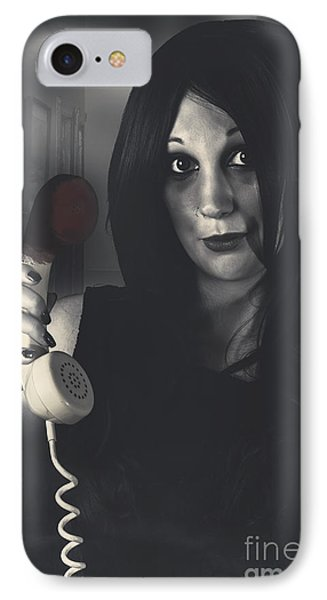 Scared Woman Making An Emergency Telephone Call IPhone Case by Jorgo Photography - Wall Art Gallery