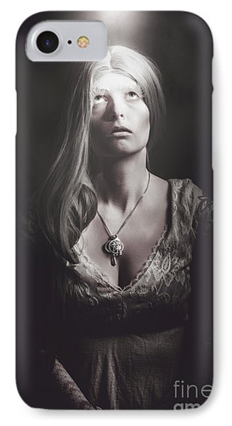 Scared Woman Trapped Down In A Dark Dungeon IPhone Case