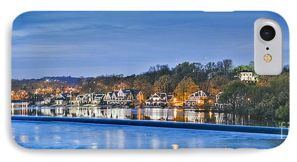 Schuylkill River  Boathouse Row Lit At Night  IPhone Case by David Zanzinger