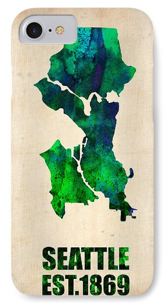 Seattle Watercolor Map IPhone Case by Naxart Studio