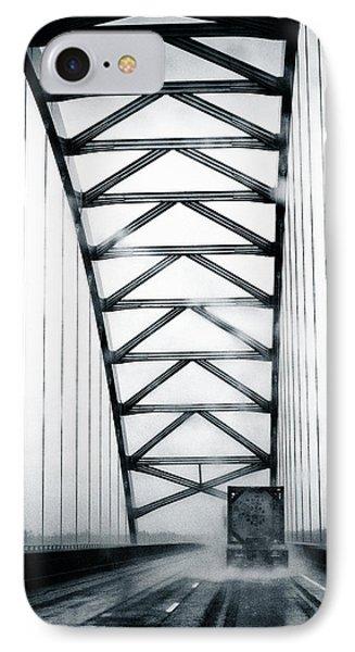 Semi On A Bridge In The Rain IPhone Case by Robert FERD Frank