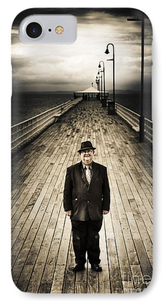 Senior Male Standing On A Pier Promenade IPhone Case by Jorgo Photography - Wall Art Gallery