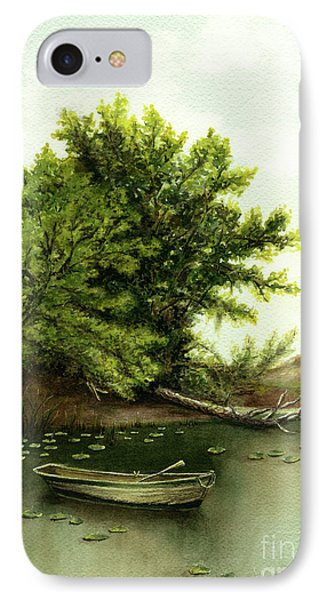 Serene Solitude Boat And Trees IPhone Case by Nan Wright