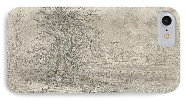 Shepherd In Cornfield, Gerardus Emaus De Micault IPhone Case by Gerardus Emaus De Micault