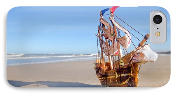 Ship Model On Summer Sunny Beach Phone Case by Michal Bednarek
