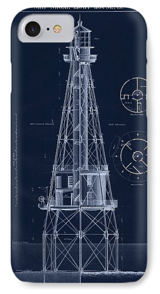 Ship Shoal Lighthouse Drawing Phone Case by Jerry McElroy