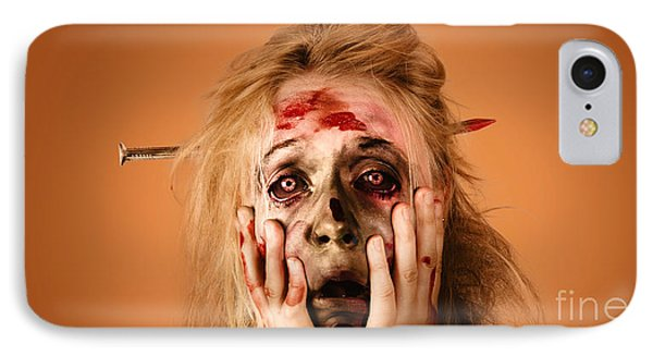 Shocked Horror Halloween Zombie With Hands Face IPhone Case
