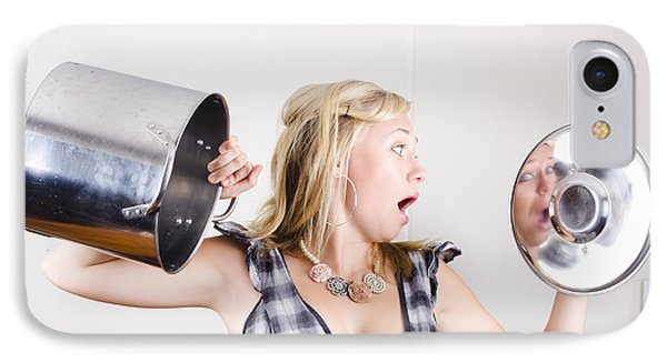 Shocked Woman Out Of Cooking Ingredients IPhone Case by Jorgo Photography - Wall Art Gallery