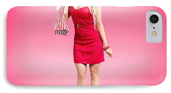 Shop Till You Drop. Female Retail Shopper In Red IPhone Case