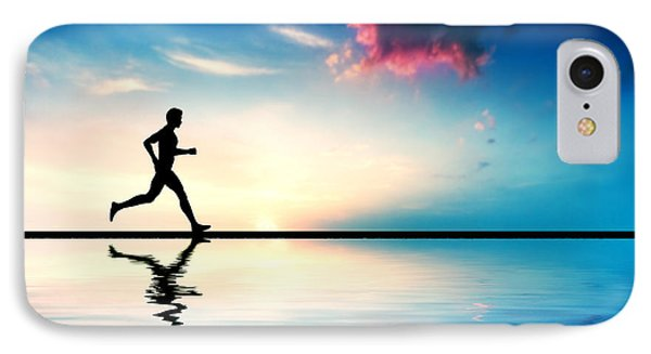Silhouette Of Man Running At Sunset IPhone Case