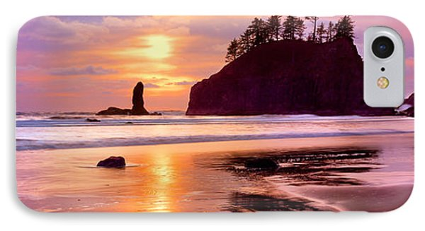 Silhouette Of Sea Stacks At Sunset IPhone Case