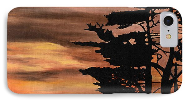 IPhone Case featuring the painting Silhouette Sunset by Mary Ellen Anderson
