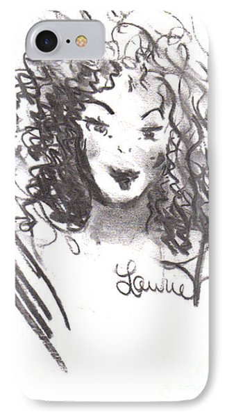 IPhone Case featuring the drawing Simply Red by Laurie L