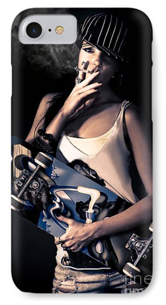 Skater Girl Smoking A Cigarette IPhone Case by Jorgo Photography - Wall Art Gallery