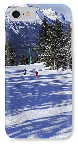Skiing In Mountains IPhone Case by Elena Elisseeva