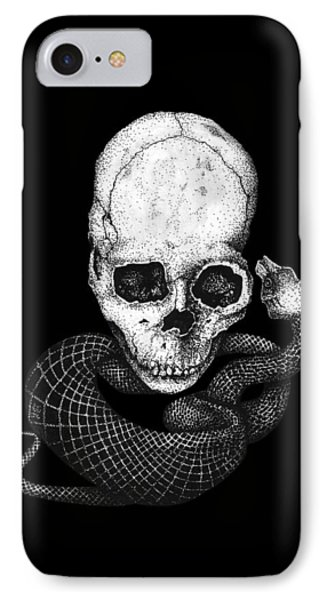 Skull And Snake IPhone Case by Jakub DK